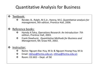 Quantitative Analysis for Business