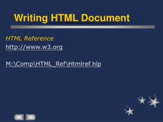 Writing HTML Document