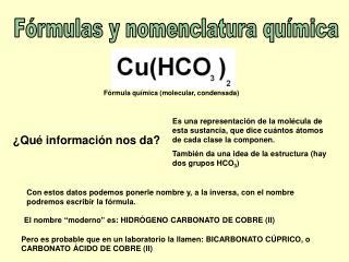 Fórmulas y nomenclatura química