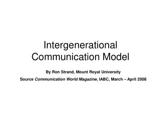Intergenerational Communication Model
