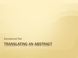 Translating an Abstract