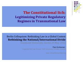 The Constitutional Itch: Legitimizing Private Regulatory Regimes in Transnational Law