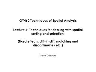 GY460 Techniques of Spatial Analysis