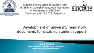 Development of university regulatory documents for disabled student support