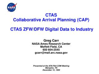 CTAS Collaborative Arrival Planning CAP   CTAS ZFW
