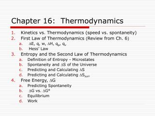 Chapter 16:  Thermodynamics