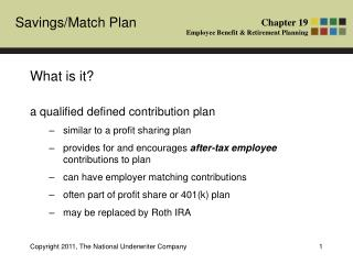 What is it? a qualified defined contribution plan similar to a profit sharing plan