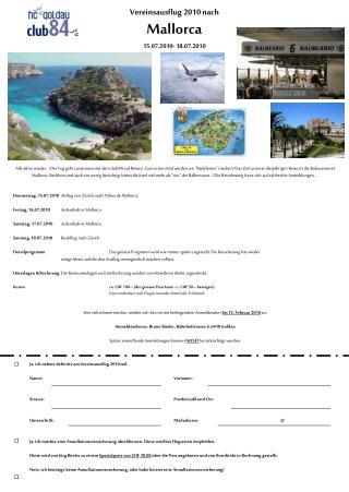 Vereinsausflug 2010 nach Mallorca 15.07.2010- 18.07.2010