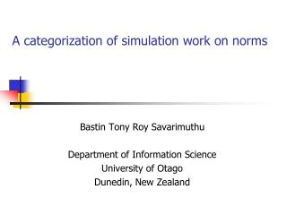 A categorization of simulation work on norms
