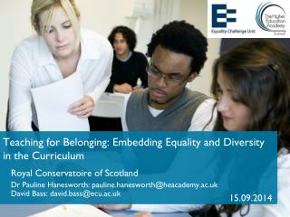 Teaching for Belonging: Embedding Equality and Diversity in the Curriculum