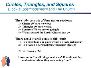 Circles, Triangles, and Squares a look at postmodernism and The Church