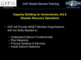 Capacity Building for Humanitarian, Aid &  Disaster Recovery Operations