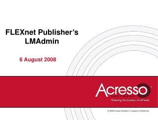 FLEXnet Publisher's LMAdmin