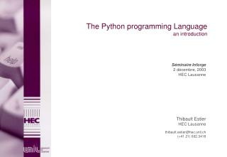 The Python programming Language an introduction