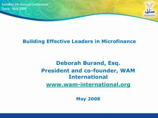 Building Effective Leaders in Microfinance