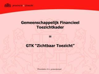 """Gemeenschappelijk Financieel Toezichtkader = GTK """"Zichtbaar Toezicht"""""""