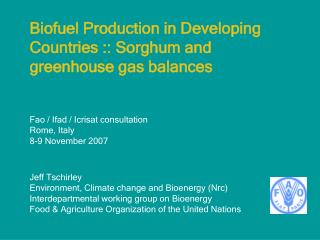 Biofuel Production in Developing Countries :: Sorghum and greenhouse gas balances