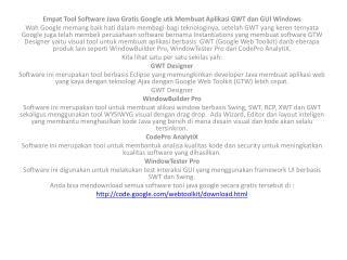Empat  Tool Software Java Gratis Google  utk Membuat Aplikasi  GWT  dan  GUI Windows