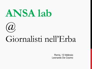 A NSA lab @ Giornalisti nell'Erba