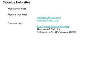 Calculus Help sites: