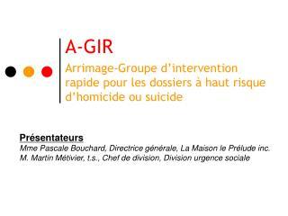 A-GIR Arrimage-Groupe d'intervention rapide pour les dossiers à haut risque d'homicide ou suicide