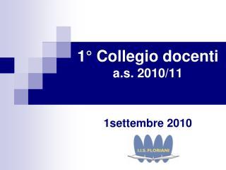 1° Collegio docenti a.s. 2010/11