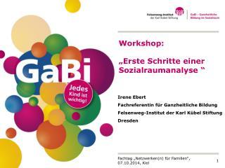 """Workshop:  """"Erste Schritte einer Sozialraumanalyse """""""