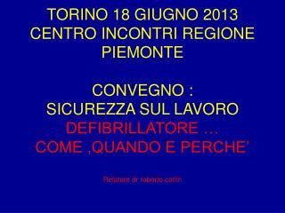 TORINO 18 GIUGNO 2013 CENTRO INCONTRI REGIONE PIEMONTE CONVEGNO : SICUREZZA SUL LAVORO
