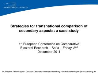 Strategies for transnational comparison of secondary aspects: a case study