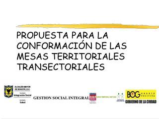PROPUESTA PARA LA CONFORMACIÓN DE LAS MESAS TERRITORIALES TRANSECTORIALES