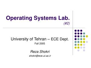 Operating Systems Lab. (#2)