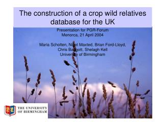 The construction of a crop wild relatives database for the UK
