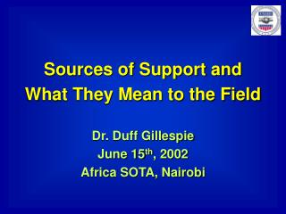 Sources of Support and  What They Mean to the Field Dr. Duff Gillespie June 15 th , 2002
