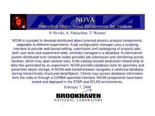 NOVA N etworked   O bject-based  En V ironment  for   A nalysis