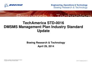 TechAmerica STD-0016 DMSMS Management Plan Industry Standard Update