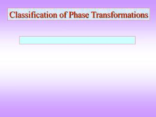Classification of Phase Transformations