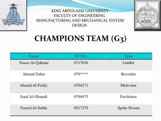 KING ABDULAZIZ UNIVERSITY FACULTY OF ENGINEERING  MANUFACTURING AND MECHANICAL SYSTEM DESIGN