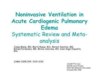 Noninvasive Ventilation in Acute Cardiogenic Pulmonary Edema Systematic Review and Meta-analysis