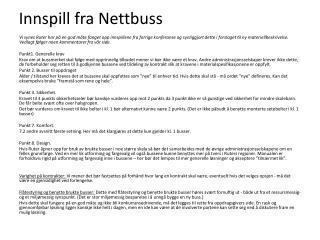 Innspill fra  Nettbuss