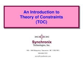 An Introduction to Theory of Constraints (TOC)