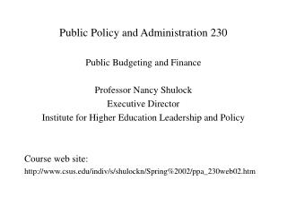 Public Policy and Administration 230