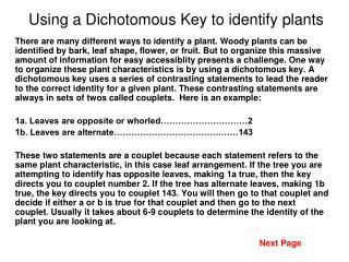 Using a Dichotomous Key to identify plants