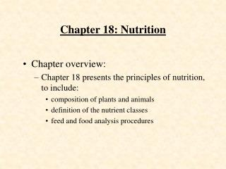 Chapter 18: Nutrition