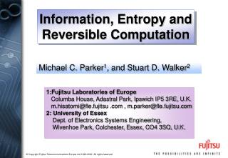 Information, Entropy and Reversible Computation