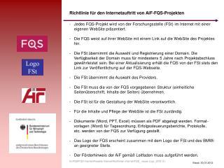 Richtlinie für den Internetauftritt von AiF-FQS-Projekten