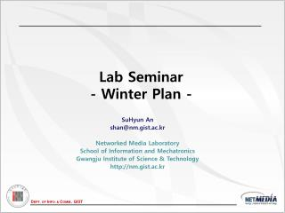 Lab Seminar - Winter Plan -