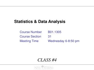 Statistics  Data Analysis