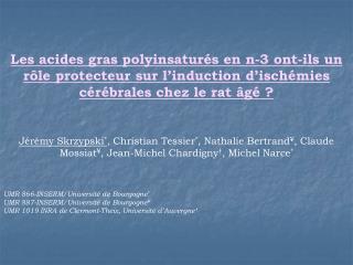 Les acides gras polyinsatur s en n-3 ont-ils un r le protecteur sur l induction d isch mies c r brales chez le rat  g