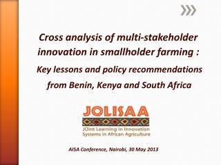 Cross analysis of multi-stakeholder innovation in smallholder farming :