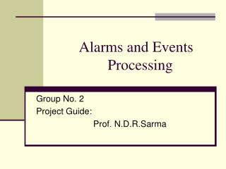 Alarms and Events        Processing